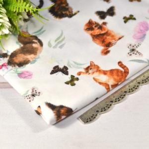 Кулирная гладь с лайкрой (трикотаж) Т-118 Кошки/бабочки